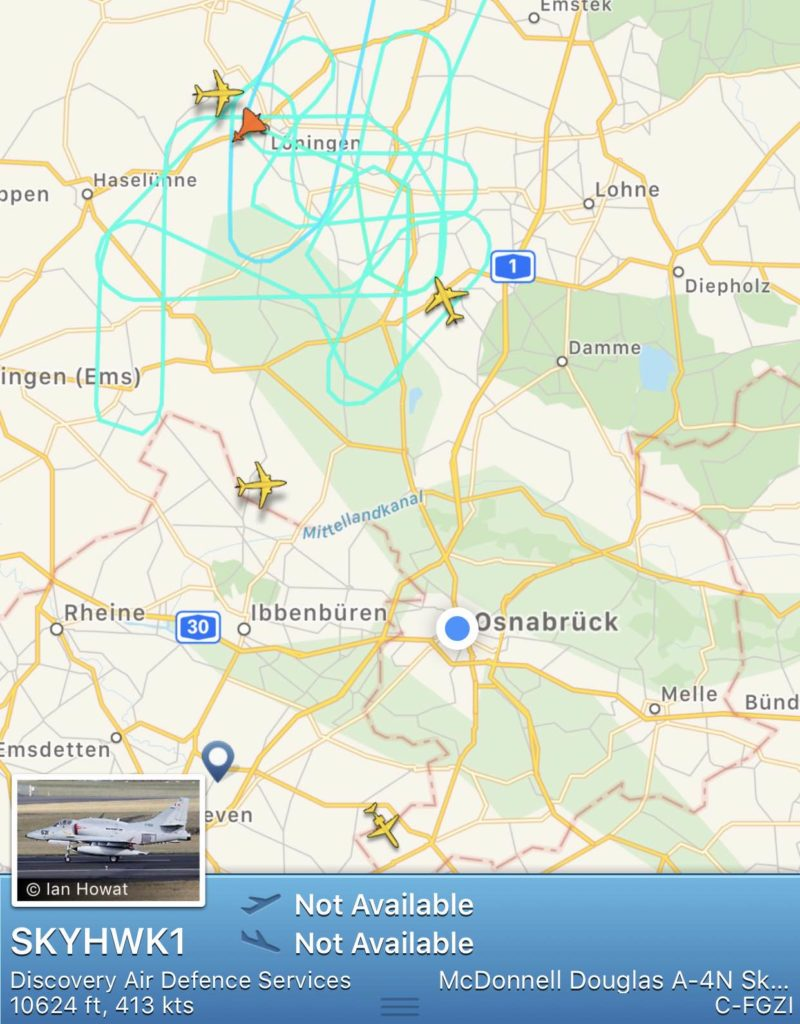 Screenshot Flightradar24 vom 25.06.2019, 09:09 Uhr