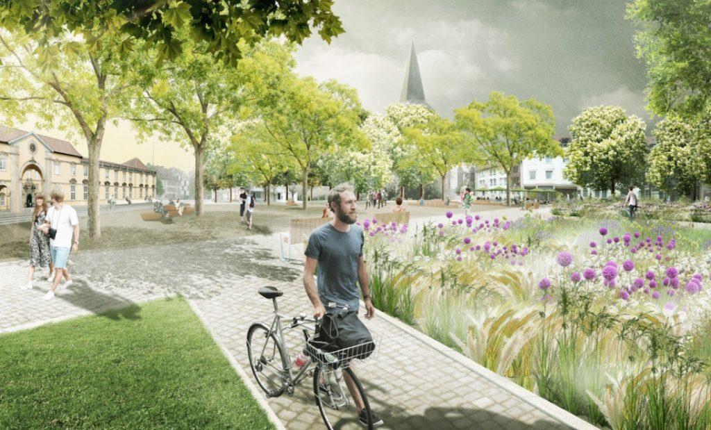 Die Zukunft des Ledenhofs: Viel Grün und ein Hipster mit Bierflasche im Fahrradkorb der sein Fahrrad schiebt. Entwurf: bbz landschaftsarchitekten